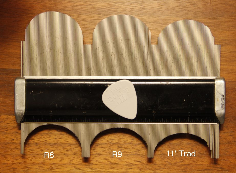 Neck Profiles R8, R9, 2011 Traditional